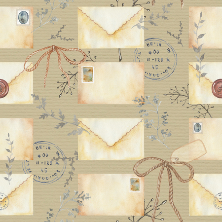 Seamless background pattern with letters, stamps and twigs. Watercolor hand drawn illustration
