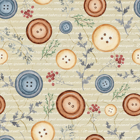 Seamless background pattern with buttons and flowers. Watercolor hand drawn illustration