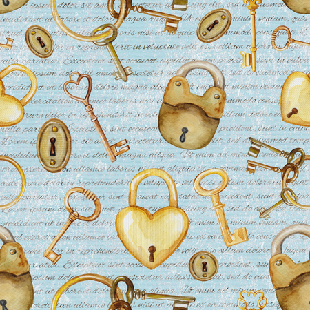 Seamless background pattern with golden keys and locks. Watercolor hand drawn illustration