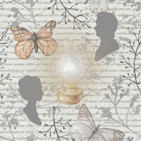Seamless background pattern with kerosene lamp, butterflies, twigs and silhouettes. Watercolor hand drawn illustration Stock fotó