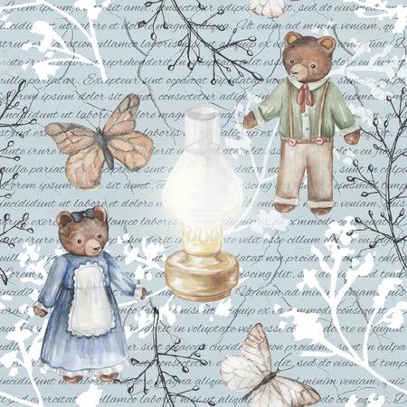 Seamless background pattern with kerosene lamp, butterflies, twigs and bears. Watercolor hand drawn illustration Stock fotó - 90810445