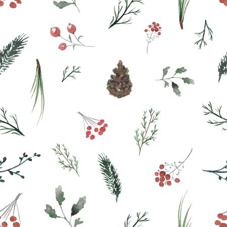 나뭇 가지, 열매 및 전나무 콘 원활한 배경 무늬. 수채화 손으로 그린 그림 스톡 콘텐츠