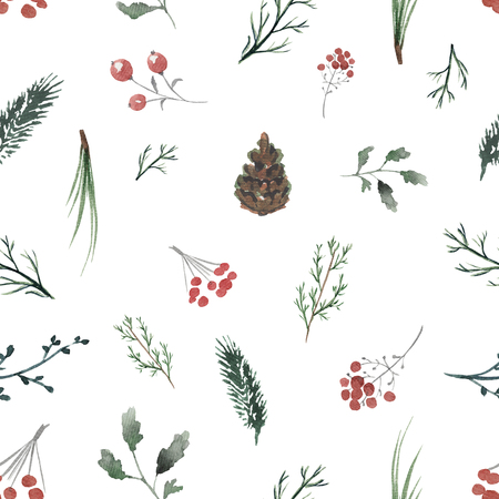 Seamless background pattern with twigs, berries and fir cones. Watercolor hand drawn illustration Zdjęcie Seryjne