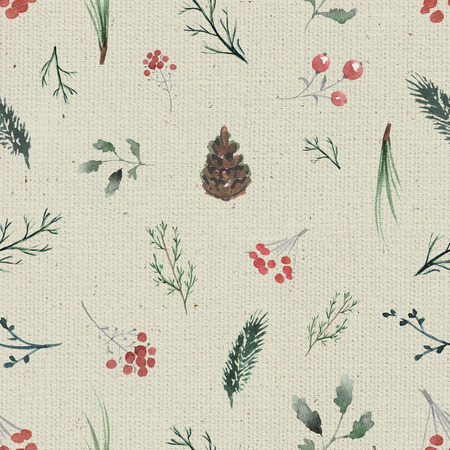 Seamless background pattern with twigs, berries and fir cones. Watercolor hand drawn illustration Stock Photo