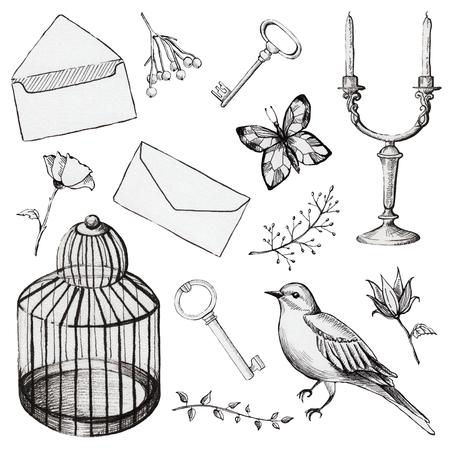 Set vintage con gabbia per uccelli, uccello, lettera, farfalla, portacandele, chiavi e fiori. Illustrazione disegnata a mano di linea Archivio Fotografico - 90810447