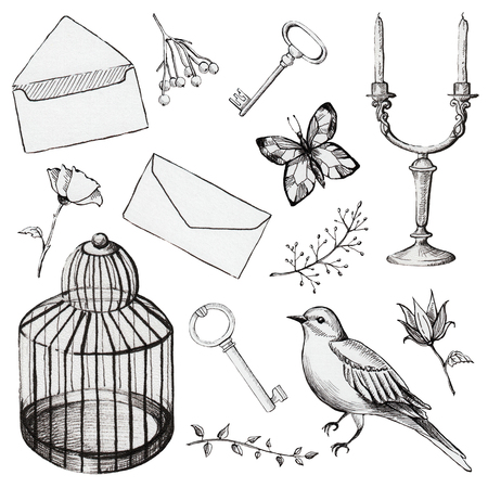 Vintage set with bird cage, bird, letter, butterfly, candleholder, keys and flowers. Liner hand drawn illustration