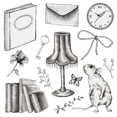 Vintage set with  letter, mouse, clock, book, key, butterfly, bow and flowers. Liner hand drawn illustration