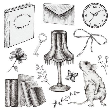 Vintage set met letter, muis, klok, boek, sleutel, vlinder, boog en bloemen. Voering hand getekende illustratie