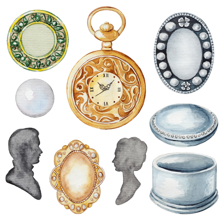 Vintage set with casket, silhouettes, brooches, pearl and clock. Watercolor hand drawn illustration