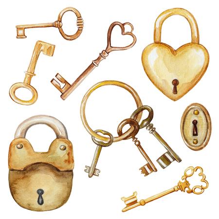Jahrgang stellte mit goldenen Schlüsseln und Schlössern . Aquarell Hand gezeichnete Illustration Standard-Bild - 90775866