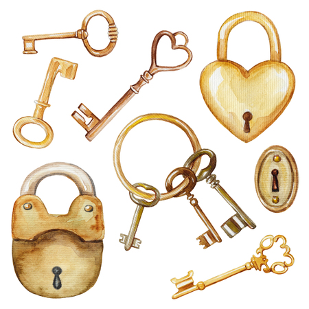 Vintage set with golden keys and locks. Watercolor hand drawn illustration