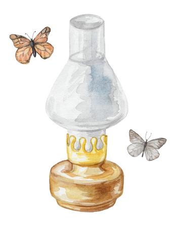 Kerosene lamp and butterflies. Watercolor hand drawn illustration