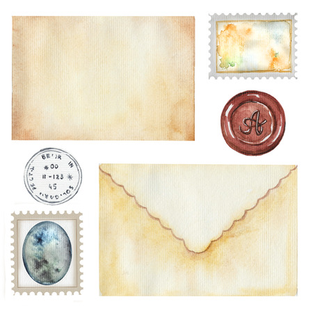 Vintage set with golden letters and stamps. Watercolor hand drawn illustration Archivio Fotografico