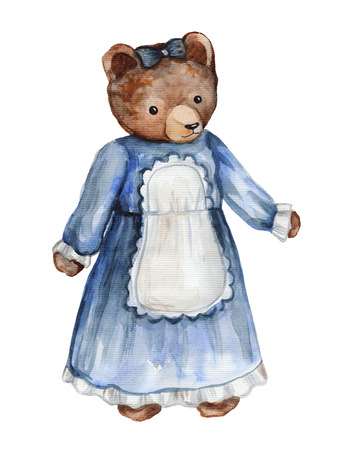 Vintage watercolor bear in dress isolated on white background