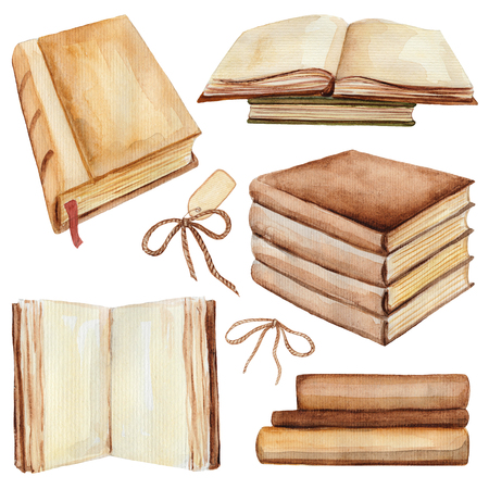 Set of books In different positions. Watercolor hand painted illustration Stock Photo