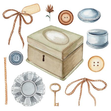 Vintage set met knopen, kistjes, wasknijpers, sleutel, broche en bloem. Aquarel hand getrokken illustratie
