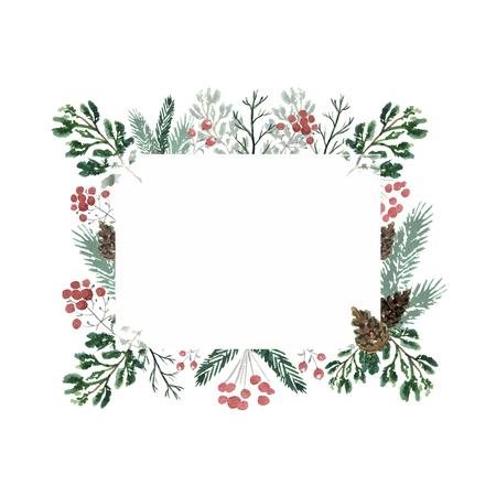 コーン、ベリー、スプルースの枝を持つクリスマスフレーム。水彩画描き下ろしイラスト