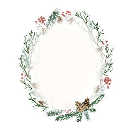 Oval christmas frame with cones, berries and spruce branches. Watercolor hand drawn illustration