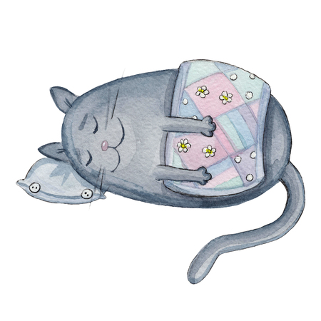 Watercolor illustration with cartoon character funny grey sleeping blanketed cat Imagens - 92067342