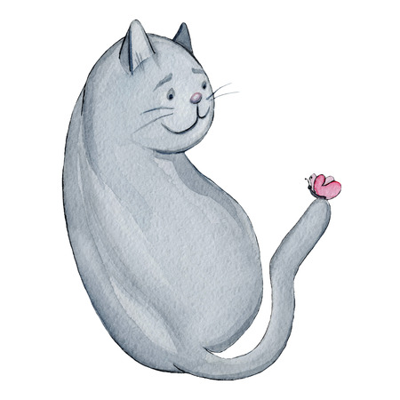Watercolor illustration cartoon character funny grey cat with rose butterfly on his tail