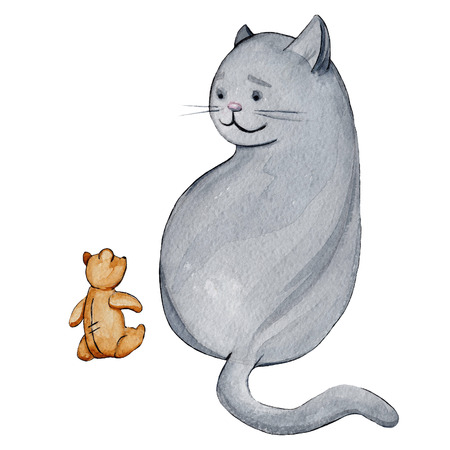 Watercolor illustration cartoon character funny grey  cat with a teddy bear
