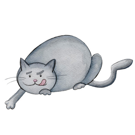 Watercolor illustration cartoon character funny hunter grey fat cat Фото со стока