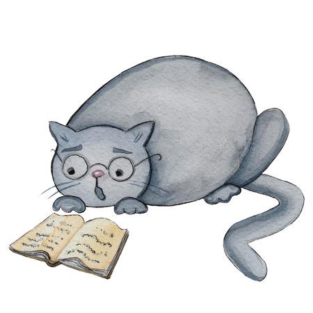 Watercolor illustration cartoon character funny grey fat cat, reading book Stock Photo
