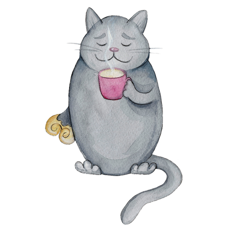 Watercolor illustration cartoon character funny grey fat cat with oval cake and a cup of hot milk Stock Photo