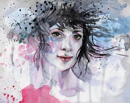 Aquarel illustratie, afgebeeld het portret van de vrouw in blauwe en roze tinten Stockfoto