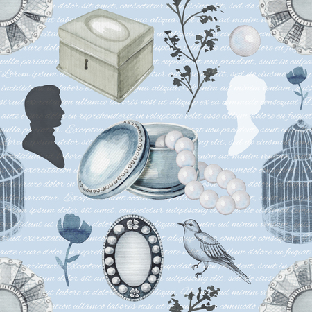 Seamless background pattern with bird, twigs, birds cage, brooches, casket, pearls and flower. Liner graphic and watercolor hand drawn illustration
