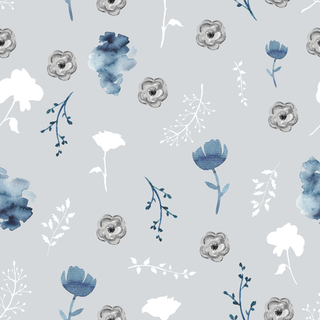 Seamless background pattern with twigs and flowers. Watercolor hand drawn illustration Stock Photo