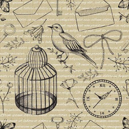 Pattern di sfondo senza soluzione di continuità con lettere, uccelli, orologio, ramoscelli, gabbia per uccelli, farfalla, chiave e fiori. Illustrazione disegnata a mano grafica della fodera Archivio Fotografico - 91747245