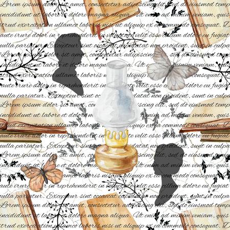 Nahtloses Hintergrundmuster mit Petroleumlampe, Schmetterlingen, Büchern, Zweigen und Schattenbildern. Aquarell hand gezeichnete Abbildung Standard-Bild - 91936447
