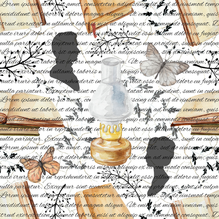 Seamless background pattern with kerosene lamp, butterflies, books, twigs and silhouettes. Watercolor hand drawn illustration