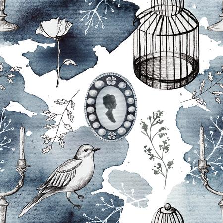 Naadloos patroon als achtergrond met kandelaar, vogel, takjes, vogelkooi, broche en bloemen. Voering grafische en aquarel hand getrokken illustratie Stockfoto