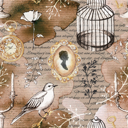 Seamless background pattern with candlestick, bird, twigs, bird's cage, brooch and flowers. Liner graphic and watercolor hand drawn illustration Banque d'images - 91748849