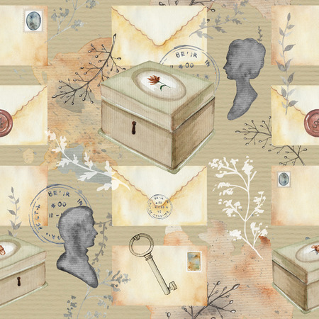 Seamless background pattern with letters, silhouettes, casket, key, stamps and twigs. Watercolor hand drawn illustration