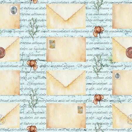 문자, 우표, 꽃 및 나뭇 가지 원활한 배경 무늬. 수채화 손으로 그린 그림