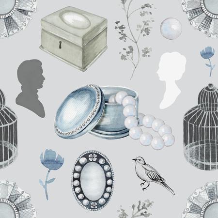 Naadloos patroon als achtergrond met vogel, takjes, vogelkooi, broches, kist, parels en bloem. Voering grafische en aquarel hand getrokken illustratie Stockfoto
