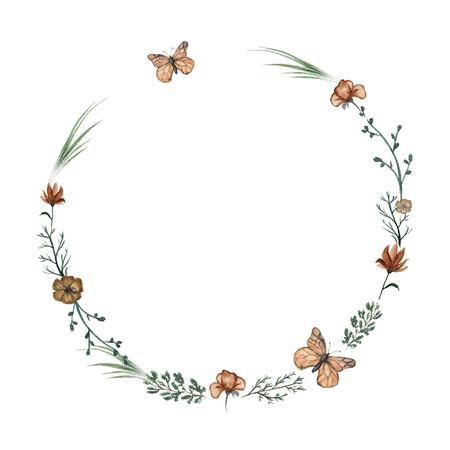 Rond frame met bloemen, vlinders en twijgen. Aquarel hand getekende illustratie