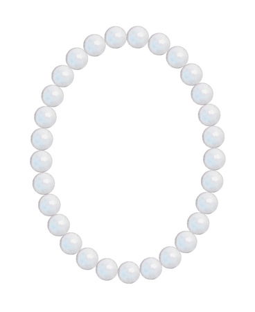 Pearl oval frame-necklace isolated on white background. Watercolor hand drawn illustration