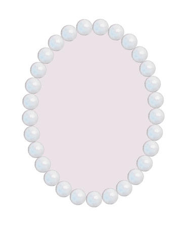 Pearl oval frame-necklace isolated on pink background. Watercolor hand drawn illustration