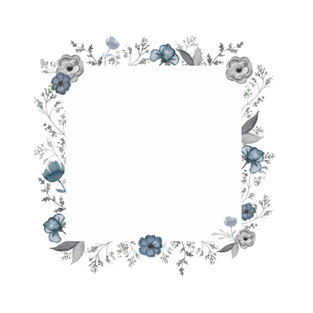 Square frame with blue flowers and gray twigs. Watercolor hand drawn illustration
