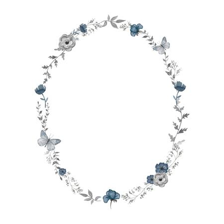 花、蝶と小枝と楕円形のフレーム。水彩画描き下ろしイラスト