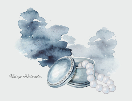 Watercolor hand drawn illustration with casket and pearls