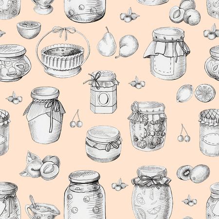 Grafisch naadloos patroon als achtergrond met jam en fruit