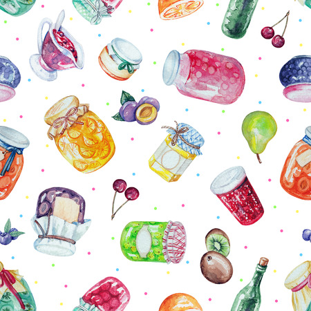 Watercolor seamless background pattern with jams and fruit