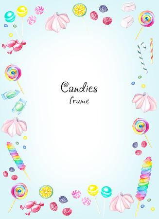 사탕의 수채화 사각형 프레임입니다. 그림을 그린 수채화 손