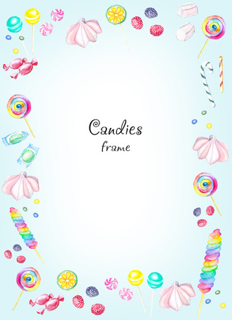 Watercolor rectangular frame of candies. Watercolor hand painted illustration Imagens - 92234450