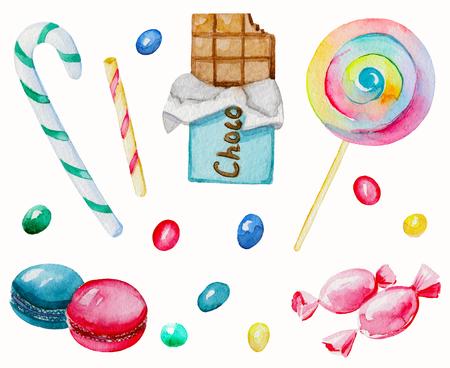Acquerello Set di caramelle. Illustrazione dipinta a mano ad acquerello Archivio Fotografico - 92258614